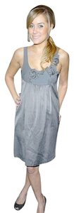 Rebecca Taylor short dress Charcoal Grey Shift Tunic Sleeveless Rosette Mini Charcoal on Tradesy