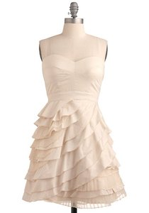 Champagne Cotton Minuet - Tiered Short and Reception Vintage Wedding Dress Size 2 (XS)