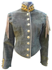 Double D Ranchwear Fringe Suede Leather Gold Hardware Metallic Hardware Military Army Moc Collar Beaded Usa Velvet Fatigue Military Jacket
