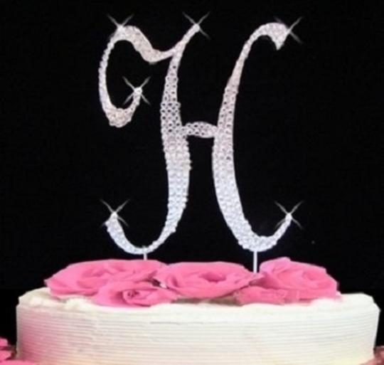 Silver Rhinestone H Cake Toppers