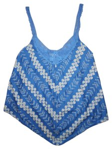 American Eagle Outfitters Asymmetrical Hem Lace Boho Bohemian Hippie Aztec Striped Top Blue, Ivory
