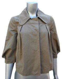 Chloé 3/4 Sleeve Pleated Double Breasted Baby Doll Cropped Flared Swing Plaid Lined Peter Pan Collar Olive Green Jacket