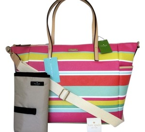 Kate Spade Pink Green Red Blue Striped Diaper Bag