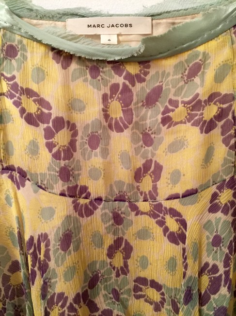 Marc Jacobs Floral Vintage Silk Skirt Yellow, Purple, Mint Green