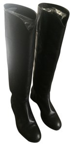Chanel Knee High Leather Black Boots