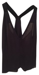 A.L.C. Tank Deep V-neck Sheer Top Midnight
