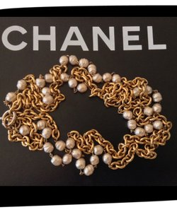 Chanel CHANEL RARE VINTAGE 1984 GOLD PLATED CHAIN LINK BAROQUE PEARL NECKLACE