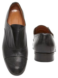 INTERMIX Lizard Leather Leather Loafer Black Flats