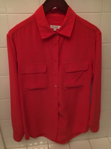 Equipment Women's Button Down Shirt Red Top Bright Red