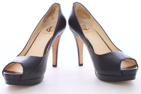 Vince Camuto Leather Peep Toe Open Toe Boxed Platform BLACK Pumps