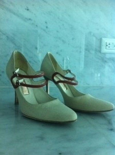 Rupert Sanderson Beige and Red Pumps