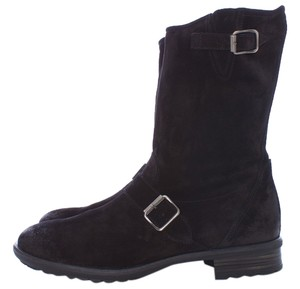 Paul Green Distressed Leather Suede Buckle BLACK Boots