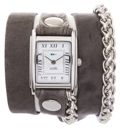 La Mer Collections LA MER COLLECTIONS Grey Washed Silver Motor Wrap Watch