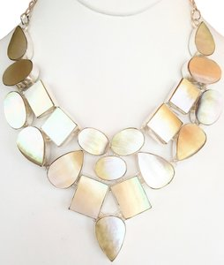Other Gorgeous Natural Mother of Pearl 925 Sterling Silver Statement Necklace