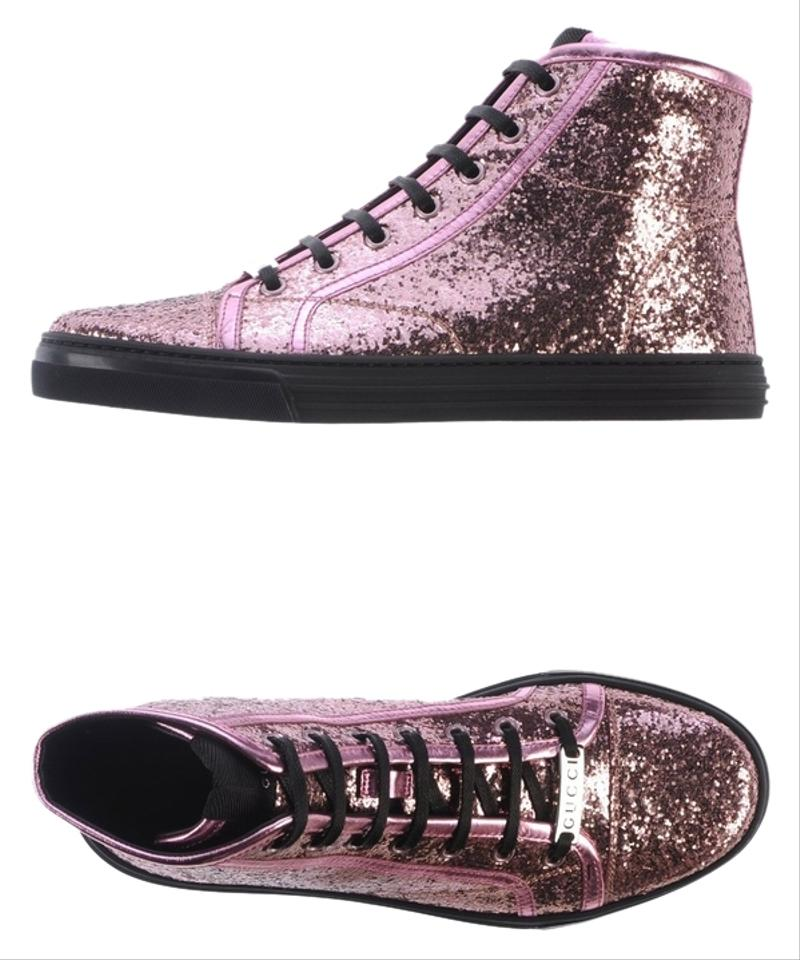 gucci pink athletic california glitter high top fashion