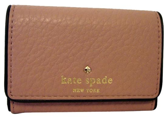 Kate Spade NEW KATE SPADE COBBLE HILL DARLA PINK/BLACK LEATHER WALLET