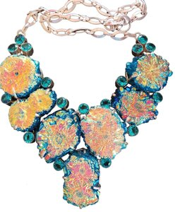 Other Fabulous Druzy Quartz and Blue Topaz 925 Sterling Silver Statement Necklace