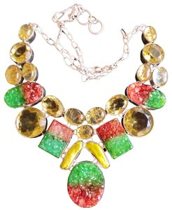 DRUZY & TRIPLET QUARTZ & LEMON TOPAZ .925 STERLING SILVER STATEMENT NECKLACE