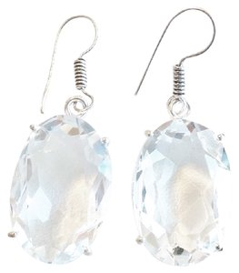 Other Genuine White Topaz 925 Sterling Silver Dangle Earrings