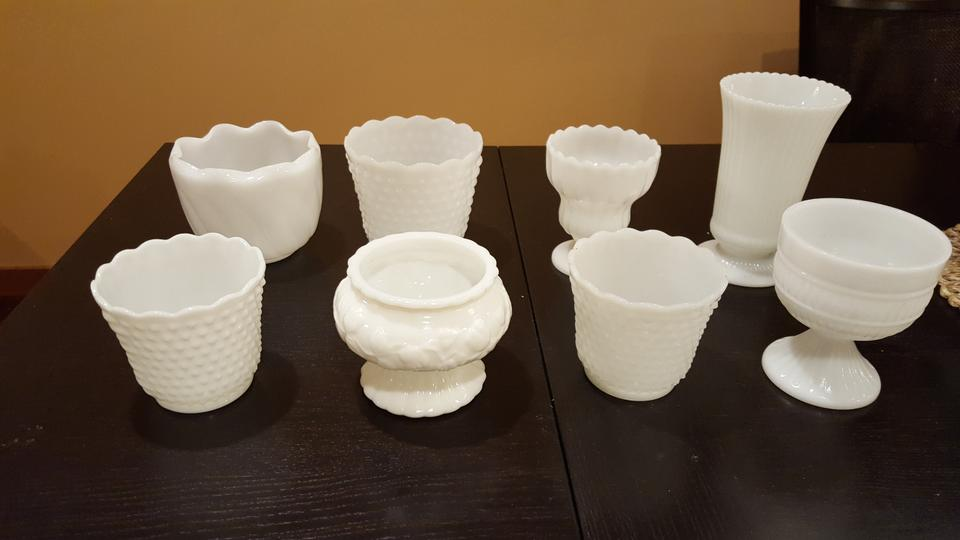 White Large Milk Glass Vases Bowls Set Of 8 Centerpiece Tradesy