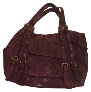 Kooba Leather Oxblood Luxury Designer Satchel in Bourbon