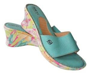 Børn Born Wedge Sandal Turquoise, with floral pattern Wedges