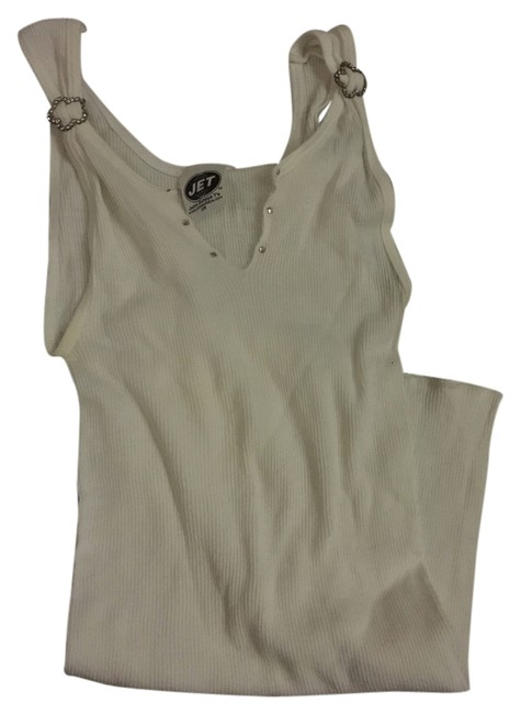 Item - White Embellished Tank Top/Cami Size OS (one size)
