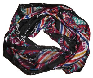 Other Floral Striped Rayon Boho Gypsy Square Scarf