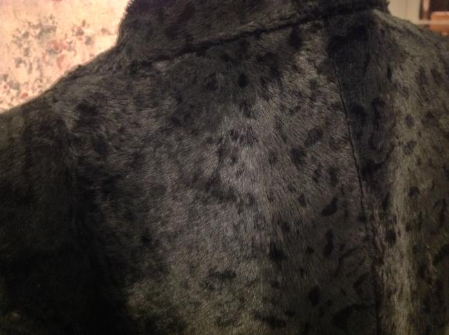 Philippe Adec Sexy Fitted Faux Furry Blue black animal print Jacket