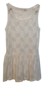 Zara Lace Peplum Top White