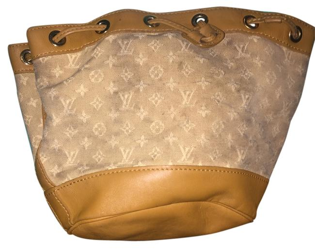 Item - Tan and Cream Leather Cloth Baguette