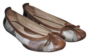Coach Leather Signature Ballet Monogram Tan Flats
