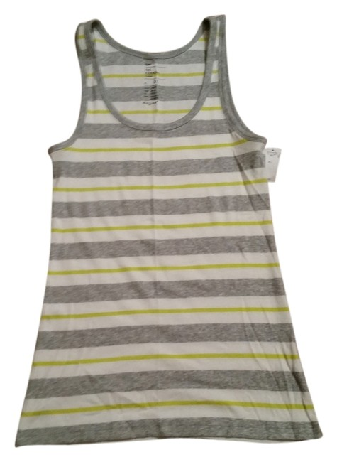 Gap Top White with Grey and Bright Green Stripes