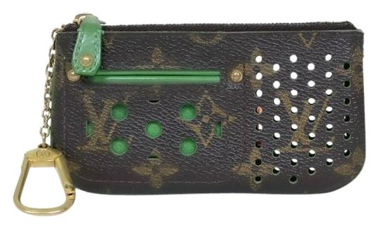 Louis Vuitton Authentic Louis Vuitton Monogram Perforated Green Cles Coin Purse