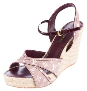Louis Vuitton Burgundy Pink White Ivory Red Wedges