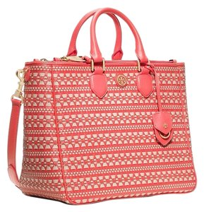 Tory Burch Satchel in Poppy Coral/Dulce De Leche
