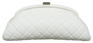 Chanel Timeless Cc Quilted Caviar Leather In White Clutch