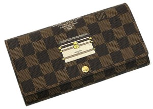 Louis Vuitton Brand New Authentic Louis Vuitton Damier Ebene Trunk Illustre Sarah Long Wallet