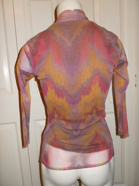 Weston Wear Mesh Ruched Top multi color print