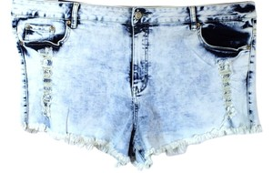 Puzzle Plus Size Fashions Fringed Cut Off Shorts