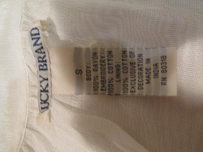 Lucky Brand Embroidered Sheer Top Cream