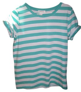 Forever 21 Striped T Shirt Teal & White