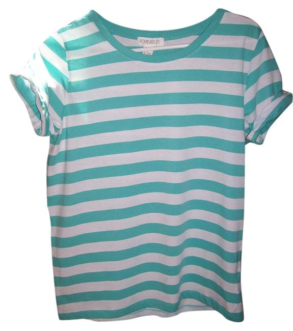 Preload https://item4.tradesy.com/images/forever-21-teal-and-white-striped-t-shirt-5733658-0-0.jpg?width=400&height=650