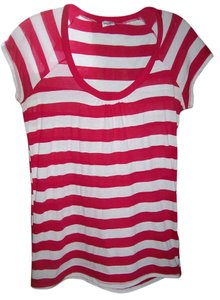 Splendid Striped T Shirt Hot Pink & White
