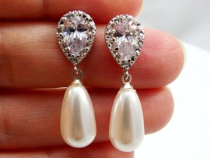 White Pearl Cubic Zirconia Sterling Silver Post Swarovski Pearls White/ Ivory Bridesmaid Earrings