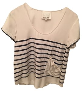 Madison Marcus Sequin Stripe Top White/Blue Stripe