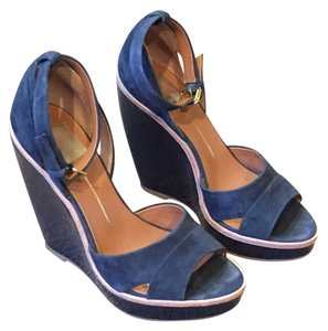 Dolce Vita Platform Open Toe Cork Suede Ankle Strap Blue Wedges