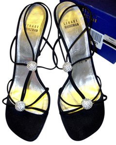 Stuart Weitzman Strappy Evening Swarovski Crystal Black Sandals