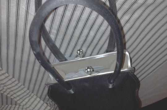 Anya Hindmarch Silver Hardware With Rhinestone Closure Vintage Inside Small Pocket Sateen Evening Shoulder Dust Satchel in Gunmetal Grey