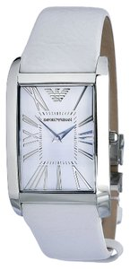 Emporio Armani Emporio Armani Men Watch White Leather Ar2045 Super Slim